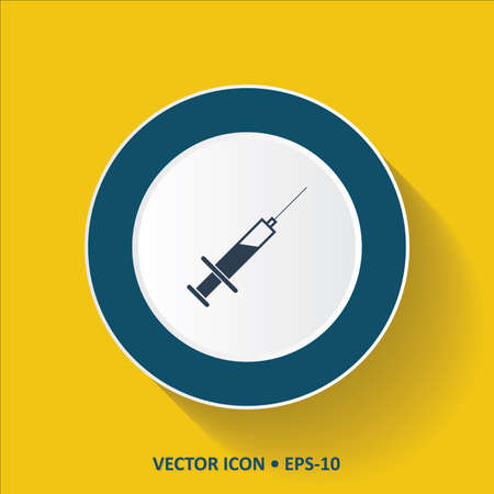 syringe inoculation: Blue vector Icon of Syringe on Yellow Color Background with Long Shadow. Eps.10.