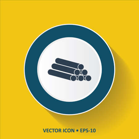 Blue vector Icon of Pipe on Yellow Color Background with Long Shadow. Eps.10.