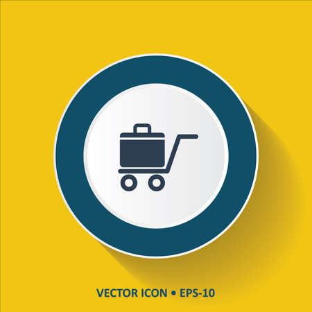luggage carrier: Blue vector Icon of Luggage Cart on Yellow Color Background with Long Shadow. Eps.10.
