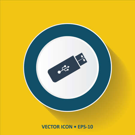 pen drive: Blue vector Icon of USB. Pen Drive on Yellow Color Background with Long Shadow. Eps.10.