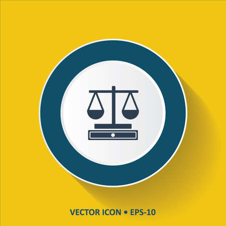 acquit: Blue vector Icon of Justice Scale on Yellow Color Background with Long Shadow.