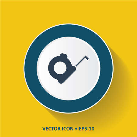 coiled: Blue vector Icon of Inch Tape on Yellow Color Background with Long Shadow.