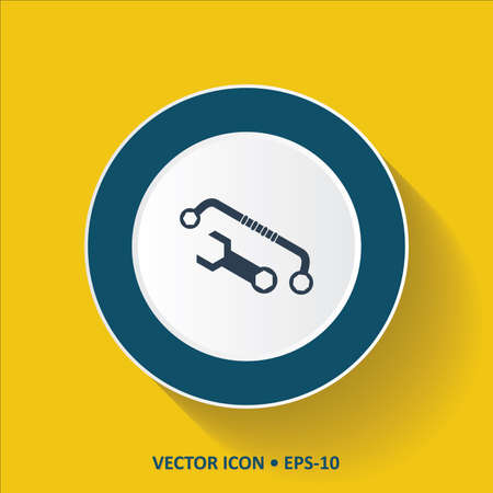 implement: Blue vector Icon of Wrench on Yellow Color Background with Long Shadow.  Illustration