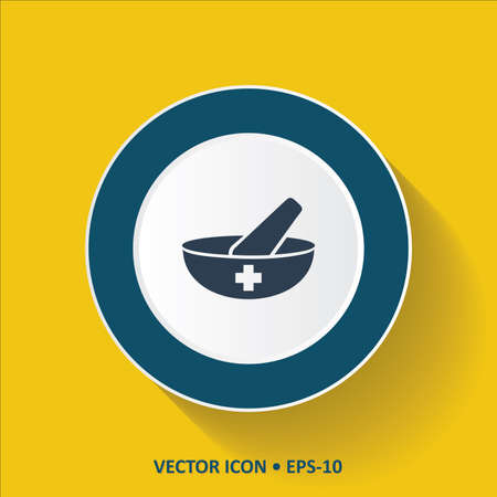 mortar and pestle: Blue vector Icon of Mortar  Pestle on Yellow Color Background with Long Shadow.