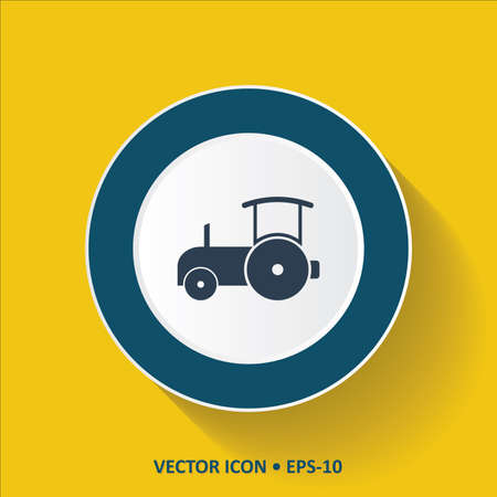 sidelight: Blue vector Icon of Road Roller on Yellow Color Background with Long Shadow.