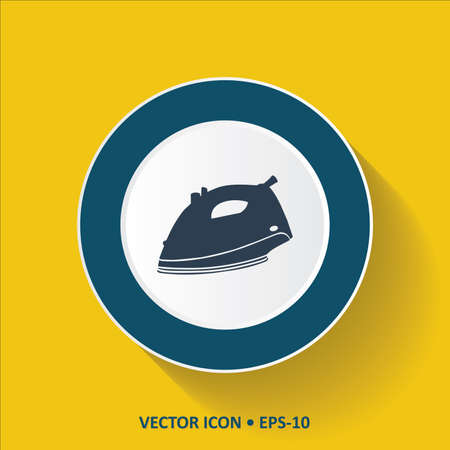 electric iron: Blue vector Icon of Electric Iron on Yellow Color Background with Long Shadow.