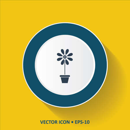 flower vase: Blue vector Icon of Flower Vase on Yellow Color Background with Long Shadow.