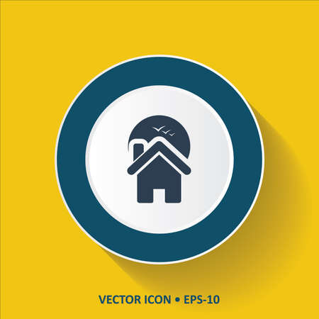 homestead: Blue vector Icon of Home on Yellow Color Background with Long Shadow.