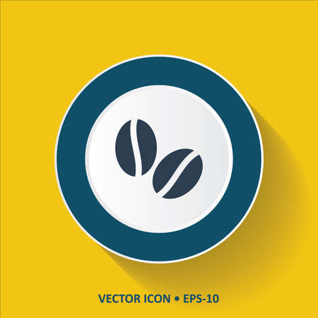 aroma: Blue vector Icon of Coffee Beans on Yellow Color Background with Long Shadow.  Illustration