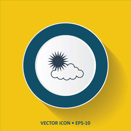 forecaster: Blue vector Icon of Sun Clouds on Yellow Color Background with Long Shadow.