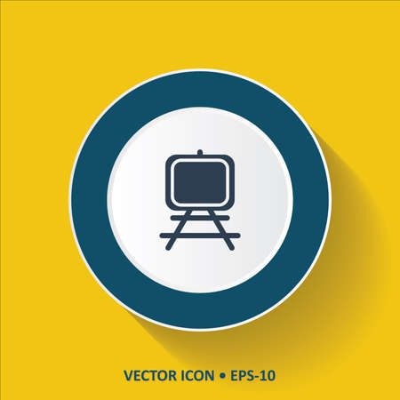 paper art projects: Blue vector Icon of Painting Stand on Yellow Color Background with Long Shadow.  Illustration