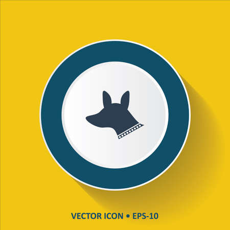 Blue vector Icon of Dog on Yellow Color Background with Long Shadow.