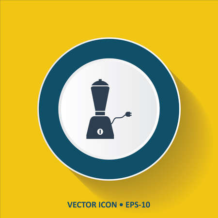 amperage: Blue vector Icon of Mixer Grinder on Yellow Color Background with Long Shadow.