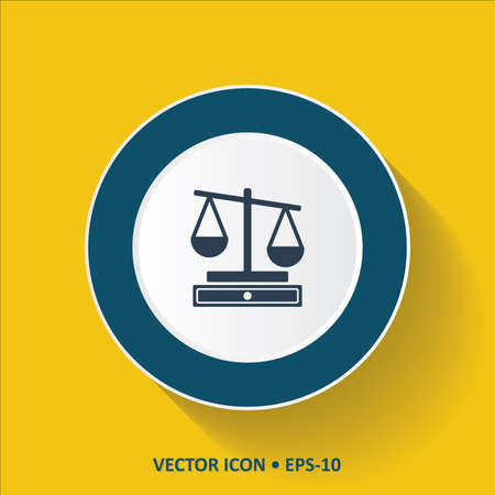 convicted: Blue vector Icon of Justice Scale on Yellow Color Background with Long Shadow.