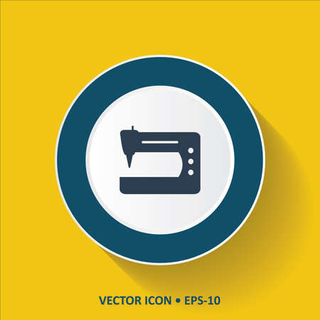 computerized: Blue vector Icon of Sewing Machine on Yellow Color Background with Long Shadow.  Illustration