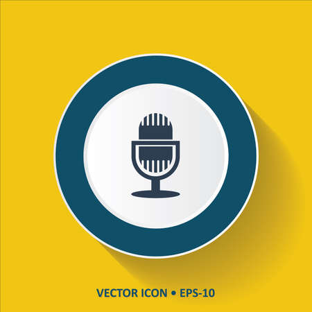 amplification: Blue vector Icon of Microphone  on Yellow Color Background with Long Shadow.