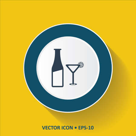 tun: Blue vector Icon of Beer Glass  Bottle on Yellow Color Background with Long Shadow.