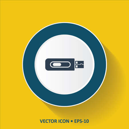 pen drive: Blue vector Icon of USB Pen Drive on Yellow Color Background with Long Shadow. Eps.10.