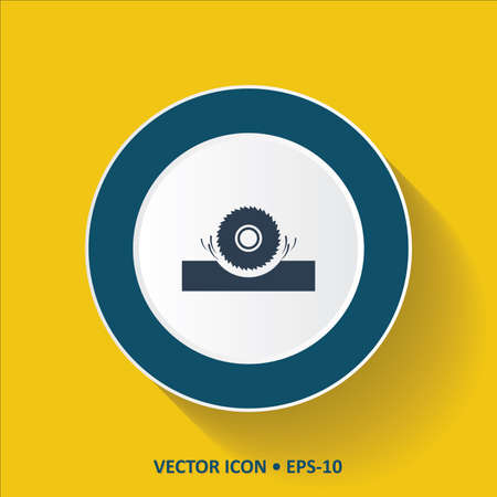 Blue vector Icon of Saw Wheel on Yellow Color Background with Long Shadow. Eps.10.