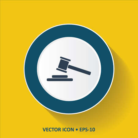 Blue vector Icon of Judge Hammer on Yellow Color Background with Long Shadow. Eps.10.