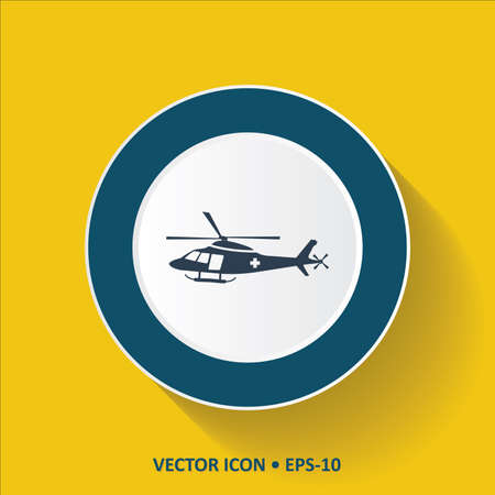 Blue vector Icon of Helicopter on Yellow Color Background with Long Shadow. Eps.10. Illustration