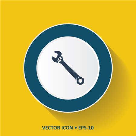 troubleshooting: Blue vector Icon of Wrench on Yellow Color Background with Long Shadow. Eps.10.
