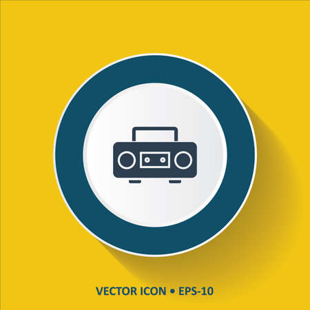 cd recorder: Blue vector Icon of Cassette Player on Yellow Color Background with Long Shadow. Eps.10.