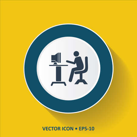 computer operator: Blue vector Icon of Computer Operator on Yellow Color Background with Long Shadow. Eps.10.