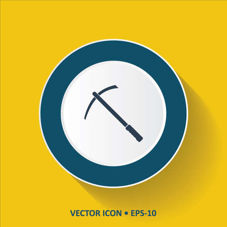 mattock: Blue vector Icon of Pick Pickax on Yellow Color Background with Long Shadow. Eps.10.