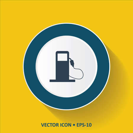 petrol pump: Blue vector Icon of Petrol Pump on Yellow Color Background with Long Shadow. Eps.10. Illustration
