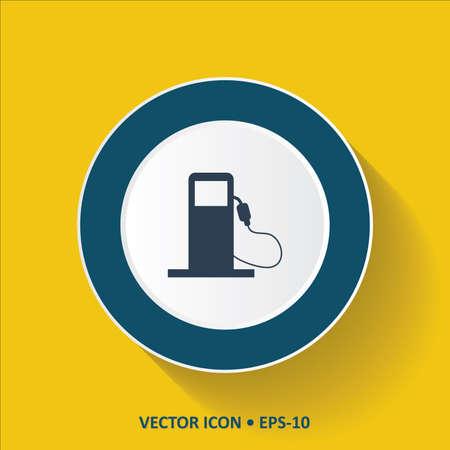 surtidor de gasolina: vector icono azul de la bomba de gasolina en el fondo de color amarillo con una larga sombra. Eps.10. Vectores
