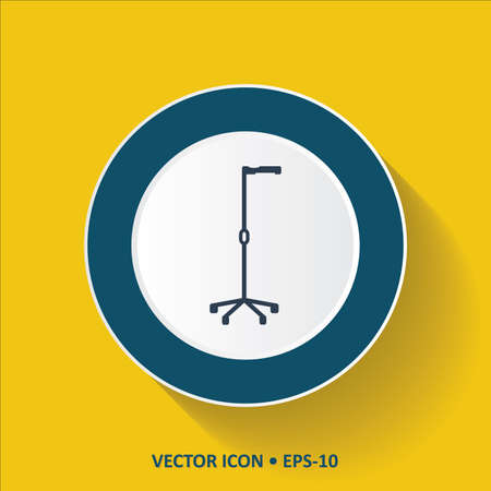 limp: Blue vector Icon of Crutches on Yellow Color Background with Long Shadow. Eps.10. Illustration