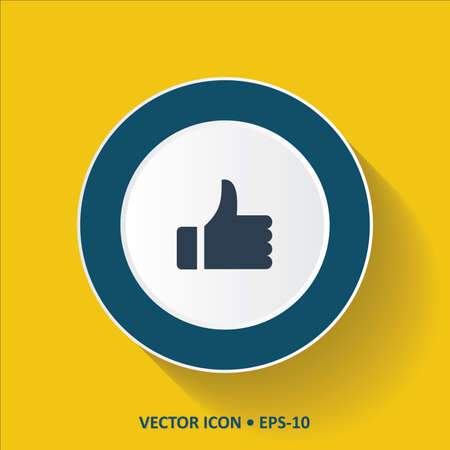 thump up: Blue vector Icon of Like-Thumb on Yellow Color Background with Long Shadow. Eps.10.