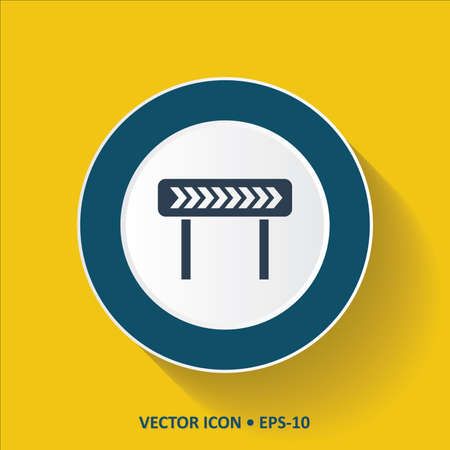 diversion: Blue vector Icon of Left Diversion on Yellow Color Background with Long Shadow. Eps.10. Illustration