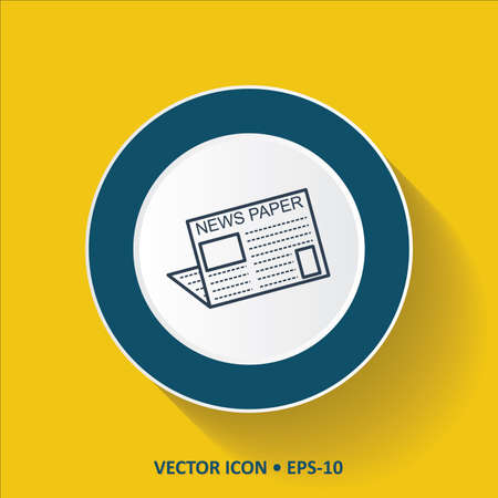 news paper: Blue vector Icon of News Paper on Yellow Color Background with Long Shadow. Eps.10.