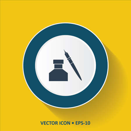 ink pot: Blue vector Icon of Ink Pot on Yellow Color Background with Long Shadow. Eps.10.