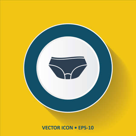 garments: Blue vector Icon of Under Garments on Yellow Color Background with Long Shadow. Eps.10.