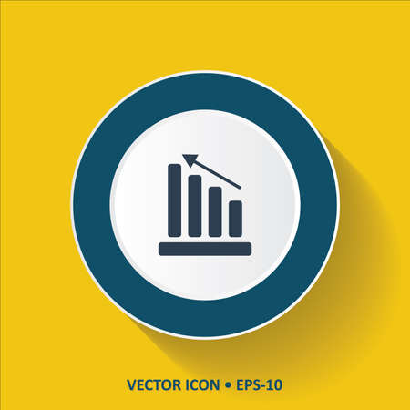 Blue vector Icon of Graph on Yellow Color Background with Long Shadow. Eps.10. 向量圖像