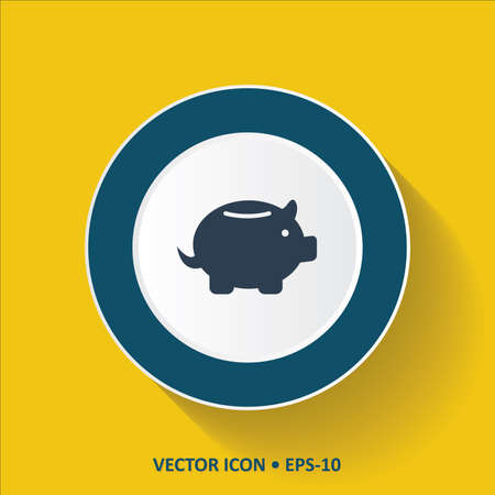 mumps: Blue Icon of Piggy Bank on Yellow Color Background with Long Shadow Illustration