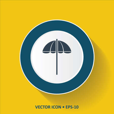 parasol: Blue Icon of Parasol on Yellow Color Background with Long Shadow