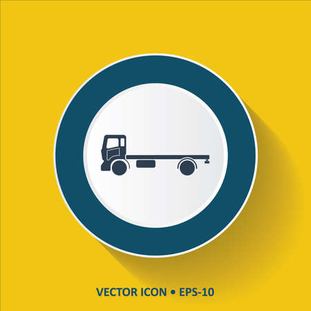 semitrailer: Blue Icon of Mini Truck on Yellow Color Background with Long Shadow