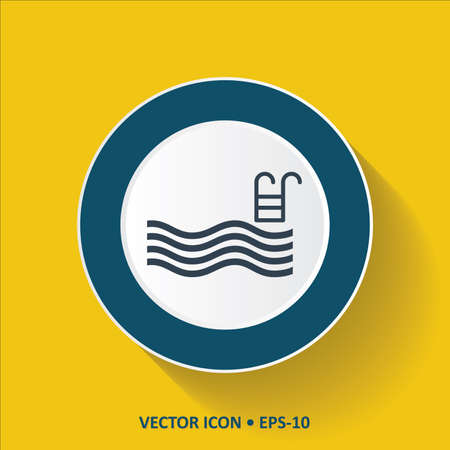 swimming: Blue Icon of Swimming pool on Yellow Color Background with Long Shadow Illustration