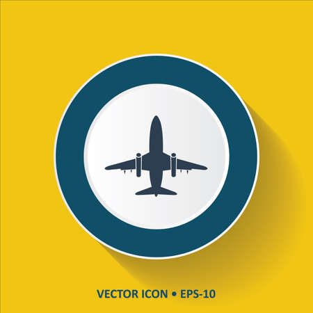 Blue Icon of Air Plane on Yellow Color Background with Long Shadow