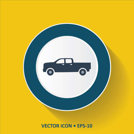 pick up: Blue Icon of Pick Up Truck on Yellow Color Background with Long Shadow
