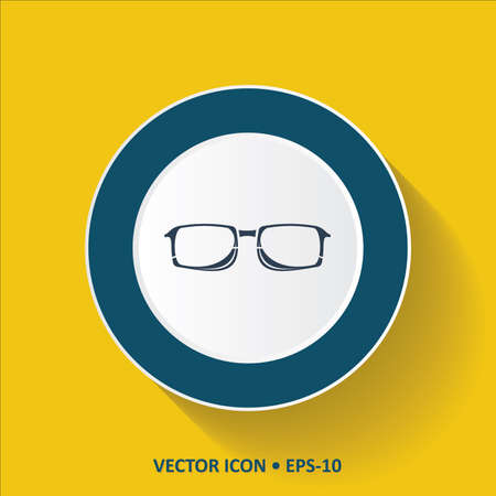 corrective lenses: Blue Icon of Glasses on Yellow Color Background with Long Shadow