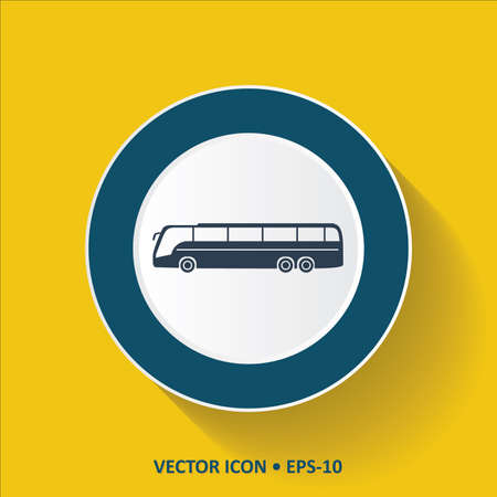Blue Icon of Bus on Yellow Color Background with Long Shadow