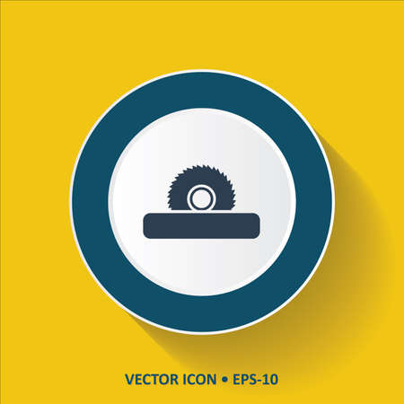 Blue Icon of Saw Wheel on Yellow Color Background with Long Shadow