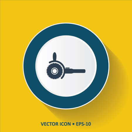 sander: Blue Icon of Electric Saw on Yellow Color Background with Long Shadow