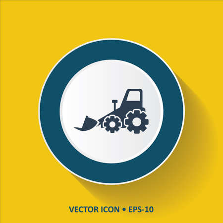 road grader: Blue Icon of Bulldozer on Yellow Color Background with Long Shadow