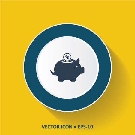 Blue vector Icon of Piggy Bank on Yellow Color Background with Long Shadow. Eps.10.